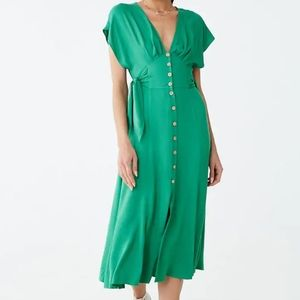 Chic Front Button Midi  Dress
